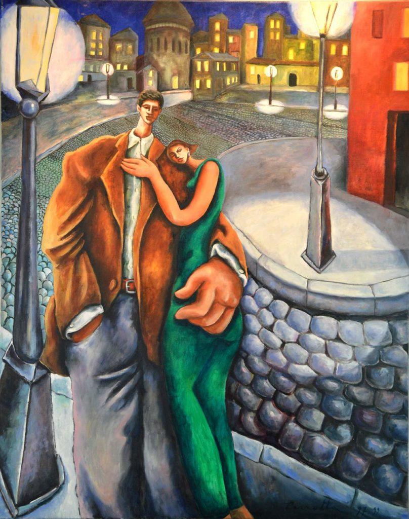 Amoureux dans la ville la nuit 92x73cm 1999 min